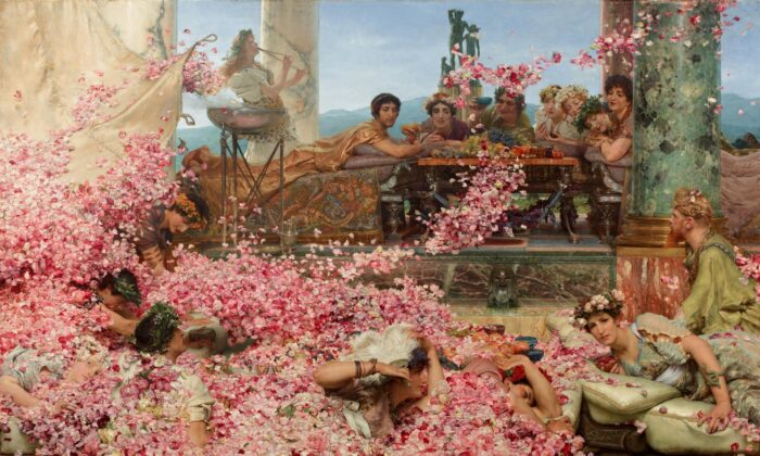 """""""The Roses of Heliogabalus,"""" in 1888 by Sir Lawrence Alma-Tadema. Oil on Canvas, 52 inches by 84.2 inches. The Pérez Simón Collection, Mexico. (Public Domain)"""