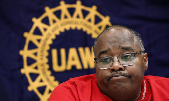 Rory Gamble, acting head of the United Auto Workers union, answers questions in Southfield, Mich. on Nov. 6, 2019. (AP Photo/Paul Sancya, File)