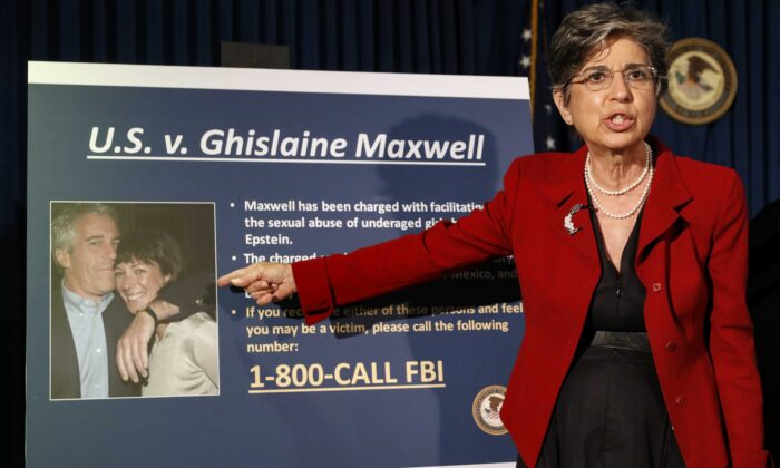 Audrey Strauss, Acting U.S. Attorney for the Southern District of New York, speaks during a news conference to announce charges against Ghislaine Maxwell for her alleged role in the sexual exploitation and abuse of multiple minor girls by Jeffrey Epstein, in New York on July 2, 2020. (John Minchillo/AP Photo)