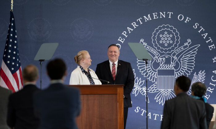 Commission chair Mary Ann Glendon looks at US Secretary of State Mike Pompeo before he speaks at the National Constitution Center about the Commission on Unalienable Rights in Philadelphia on July 16, 2020. (Brendan Smialowski/AFP via Getty Images)