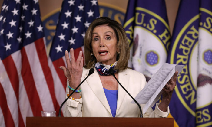 Speaker of the House Nancy Pelosi (D-Calif.) talks to reporters during her weekly news conference in the U.S. Capitol Visitors Center in Washington, on July 16, 2020. (Chip Somodevilla/Getty Images)