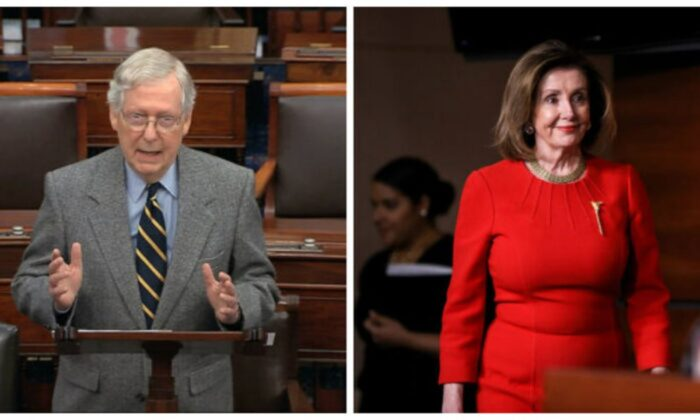 Senate Minority Leader Mitch McConnell (R-Ky.) and House Speaker Nancy Pelosi (D-Calif.) in file photos. (Senate TV via AP; Charlotte Cuthbertson/The Epoch Times)