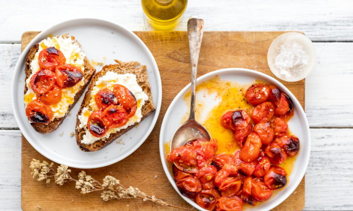 When you roast cherry tomatoes in the oven, they gain a sweet, almost caramelized flavor. They make a perfect summery match with fresh ricotta. (Photo by Giulia Scarpaleggia)