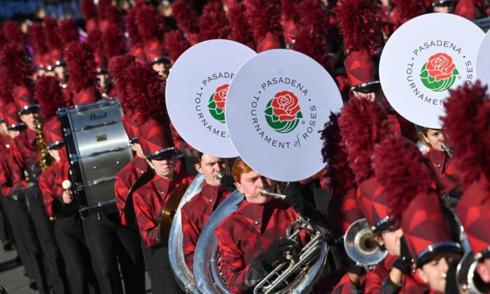 A marching band participates in the 131st Rose Parade in Pasadena, Calif., on Jan. 1, 2020. (Robyn Beck/AFP via Getty Images)