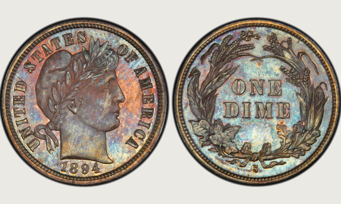 The 1894-S Barber dime (Professional Coin Grading Service/Wikipedia)