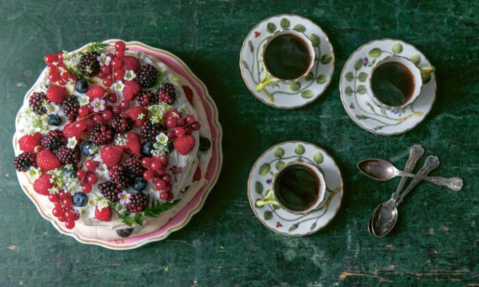 Dreamy layers of meringue, whipped cream, and fresh berries make for a stunning summer dessert, best served with strong espresso or mint tea. (Photo by Skye McAlpine)