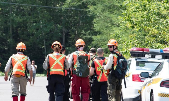 Police officers and volunteers march to the woods to search in Saint-Apollinaire, Quebec, Canada, on July 10, 2020. (Jacques Boissinot/The Canadian Press)