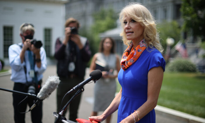 Kellyanne Conway, counselor to President Donald Trump, talks to reporters outside the White House in Washington on July 7, 2020. (Chip Somodevilla/Getty Images)