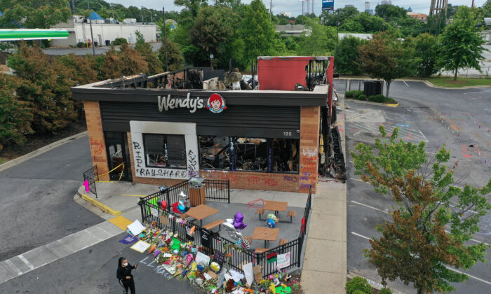 The Wendy's restaurant that was set on fire by rioters after Rayshard Brooks was killed is seen in Atlanta, Ga., on June 17, 2020. (Joe Raedle/Getty Images)
