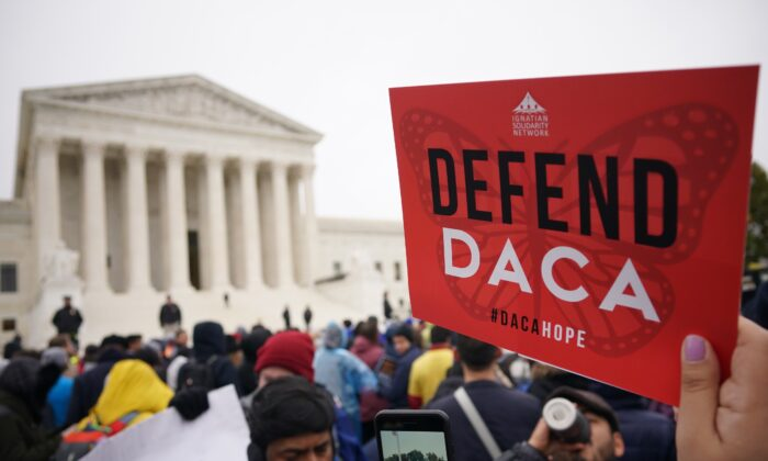 Immigration policy activists rally in front of the U.S. Supreme Court in Washington on Nov. 12, 2019. (Mandel Ngan/AFP/Getty Images)