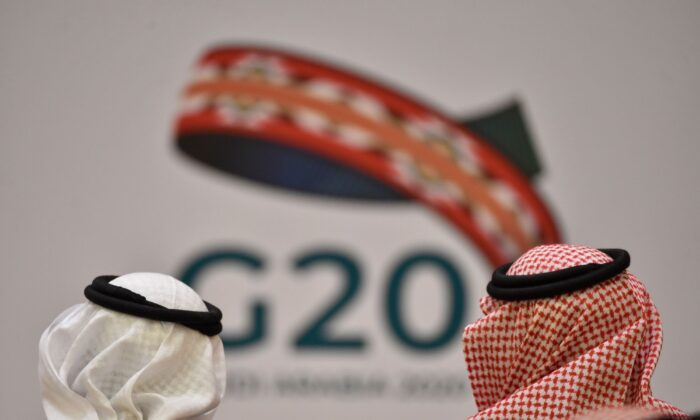Finance ministers and central bank governors of the G20 nations in the Saudi capital Riyadh on February 23, 2020. (Fayez Nureldine/AFP via Getty Images)
