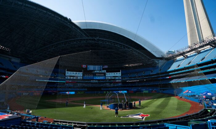 Toronto Blue Jays players take part in summer training at Rogers Centre on July 9, 2020, in Toronto. (Mark Blinch/Getty Images)