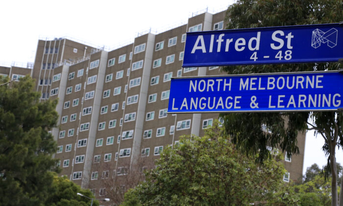 Lockdown lifted at public housing tower in Alfred Street, north Melbourne in Melbourne, Australia on July 11, 2020. (Darrian Traynor/Getty Images)