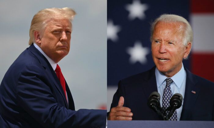 President Donald Trump (L) boards Air Force One at Joint Base Andrews in Md., on July 15, 2020. On right, presumptive Democratic presidential nominee Joe Biden speaks in Dunmore, Pa., on July 9, 2020. (Jim Watson/AFP via Getty Images; Spencer Platt/Getty Images)
