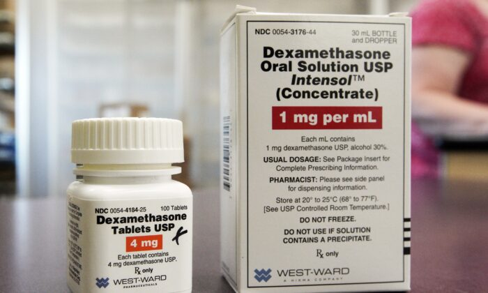 A bottle and box for dexamethasone in a pharmacy in Omaha, Neb., on June 16, 2020. (Nati Harnik/AP Photo)