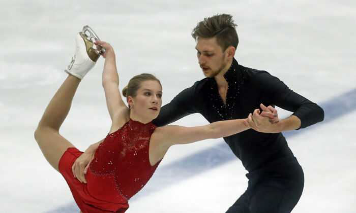 Ekaterina Alexandrovskaya and Harley Windsor, of Australia, perform during the pairs free skate at the U.S. International Figure Skating Classic, in Salt Lake City,on Sept. 14, 2018. (Rick Bowmer/AP/file)