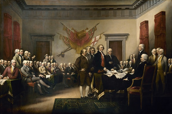 John Turnbull's painting of the Declaration of Independence being presented to Congress. (Public Domain)