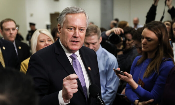 White House Chief of Staff Mark Meadows, then-U.S. representative from North Carolina, speaks to media while other impeachment defense team advisers look on at the Capitol in Washington on Jan. 27, 2020. (Charlotte Cuthbertson/The Epoch Times)
