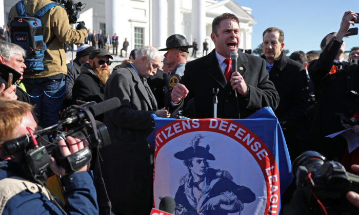 Delegate Nick Freitas (R-Culpeper) speaks during a gun rights rally organized by The Virginia Citizens Defense League on Capitol Square near the state capital building in Richmond, Va., on Jan. 20, 2020. (Chip Somodevilla/Getty Images)