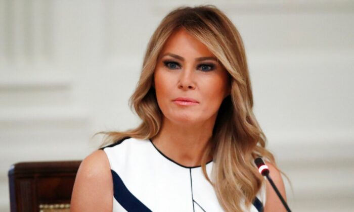 """First lady Melania Trump listens during a """"National Dialogue on Safely Reopening America's Schools,"""" event in the East Room of the White House in Washington, on July 7, 2020. (Alex Brandon/AP Photo)"""