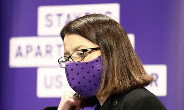 Victorian Health Minister Jenny Mikakaos wears a face mask in the daily briefing in Melbourne, Australia on July 19, 2020. (Darrian Traynor/Getty Images)