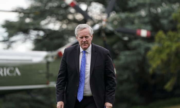 White House Chief of Staff Mark Meadows walks to the White House after visiting Walter Reed Military Medical Center with President Donald Trump in Washington on July 11, 2020. (Joshua Roberts/Getty Images)
