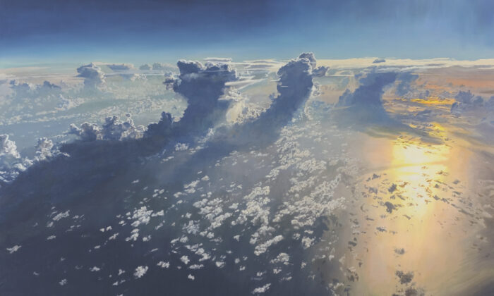 """""""Morning Over the Gulf,"""" 2018, by David Jenks. Oil on canvas; 36 inches by 56 inches. Recipient of an honorable mention in the landscape category at the """"14th International ARC Salon (2019–2020)."""" (ARC)"""