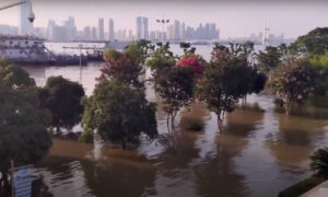 River Levels Much Higher Than Street Level in Wuhan