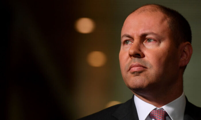 Federal Treasurer Josh Frydenberg during a press conference in the Mural Hall at Parliament House on June 11, 2020 in Canberra, Australia (Sam Mooy/Getty Images)