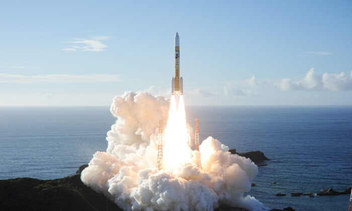 An H-2A rocket carrying the Hope Probe, developed by the Mohammed Bin Rashid Space Centre (MBRSC) in the United Arab Emirates (UAE) for the Mars explore, lifts off from the launching pad at Tanegashima Space Center on the island of Tanegashima, Japan, in this handout photo taken and released on July 20, 2020 by Mitsubishi Heavy Industries.  (Mitsubishi Heavy Industries/Handout via Reuters)