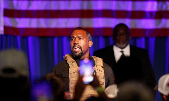Rapper Kanye West holds his first rally in support of his presidential bid in North Charleston, S.C., on July 19, 2020. (Randall Hill/Reuters)