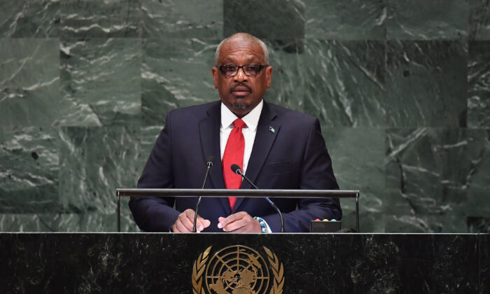 Bahamas Prime Minister Hubert Alexander Minnis addresses the 73rd session of the General Assembly at the United Nations in New York on Sept 28, 2018. (Angela Weiss/AFP via Getty Images)