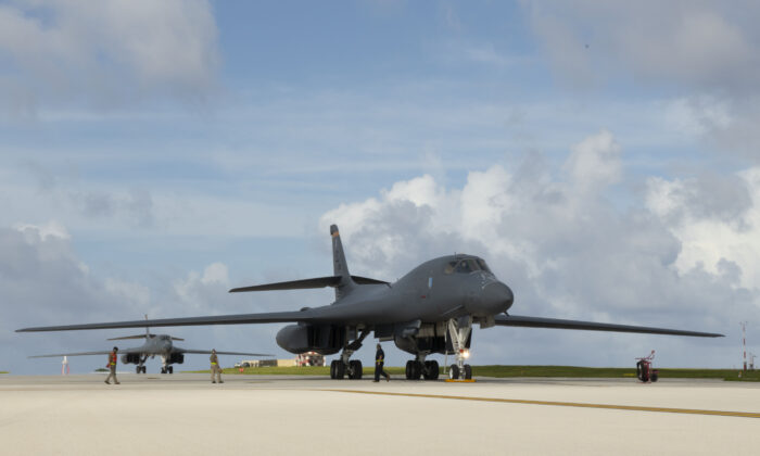 Two B-1B Lancers, assigned to the 28th Bomb Wing, Ellsworth Air Force Base, S.D., arrive at Andersen Air Force Base, Guam, as part of a Bomber Task Force deployment on July 17, 2020. (U.S. Air Force Photo by Airman 1st Class Christina Bennett)