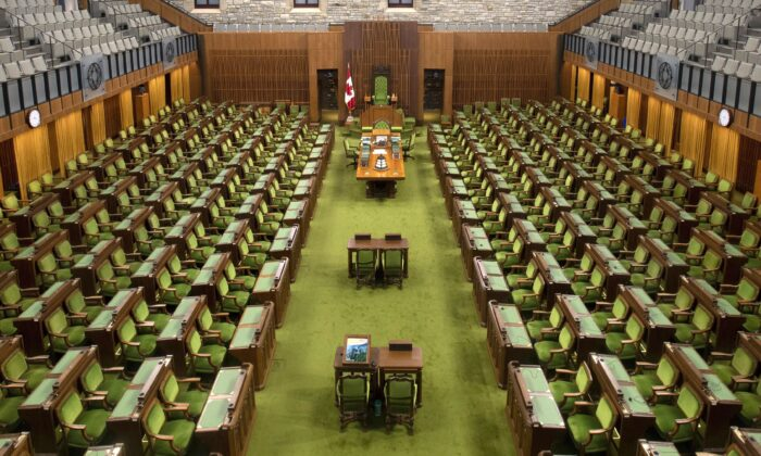 An empty House of Commons chamber in Ottawa is seen on April 8, 2020. (The Canadian Press/Adrian Wyld)