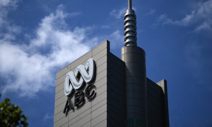 The logo for Australia's public broadcaster ABC is seen on its head office building in Sydney on Sept. 27, 2018. (Saeed Khan/AFP via Getty Images)