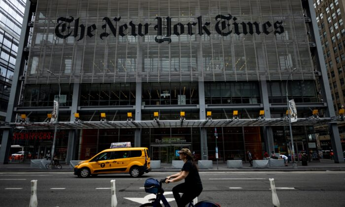 The New York Times building is seen on June 30, 2020 in New York City. (JOHANNES EISELE/AFP via Getty Images)
