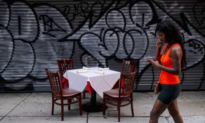 A table ready for outside dining is pictured in Manhattan, New York City, on July 18, 2020. (Johannes Eisele/AFP/Getty Images)