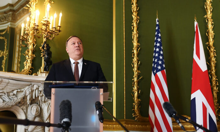 U.S. Secretary of State Mike Pompeo speaks during a joint press conference with Britain's Foreign Secretary Dominic Raab at Lancaster House, London, on July 21, 2020. (Peter Summers - WPA Pool/Getty Images)