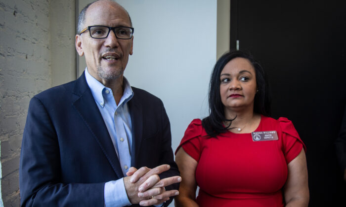 Tom Perez (L) chair of the Democratic National Committee, and Nikema Williams, chair of the Georgia Democratic Party, speak with reporters, in Atlanta, on Nov. 20, 2019. (Ron Harris/ File/AP Photo)