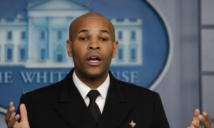U.S. Surgeon General Jerome Adams speaks during the daily briefing of the White House Coronavirus Task Force in the James Brady Briefing Room April 10, 2020 at the White House in Washington. (Alex Wong/Getty Images)