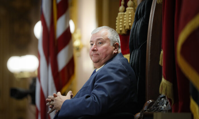 Ohio State Rep. Larry Householder stands at the head of a legislative session as Speaker of the House, in Columbus, Ohio, on Oct. 30, 2019. (John Minchillo/AP Photo)