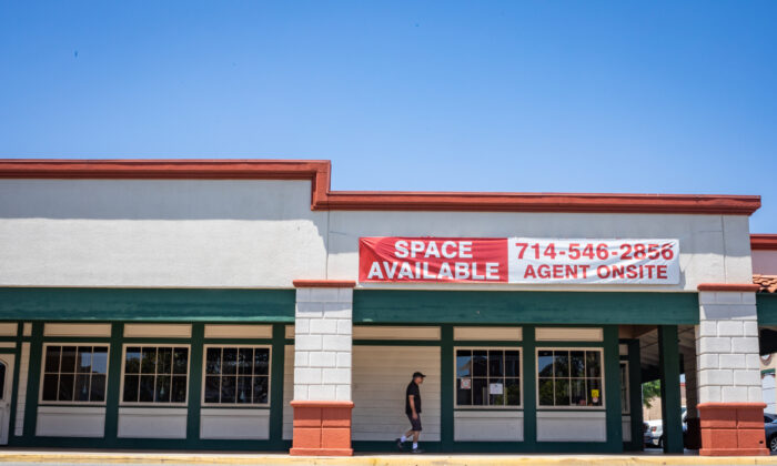Restaurant space is advertised as available in Santa Ana, Calif., on July 10, 2020. (John Fredricks/The Epoch Times)