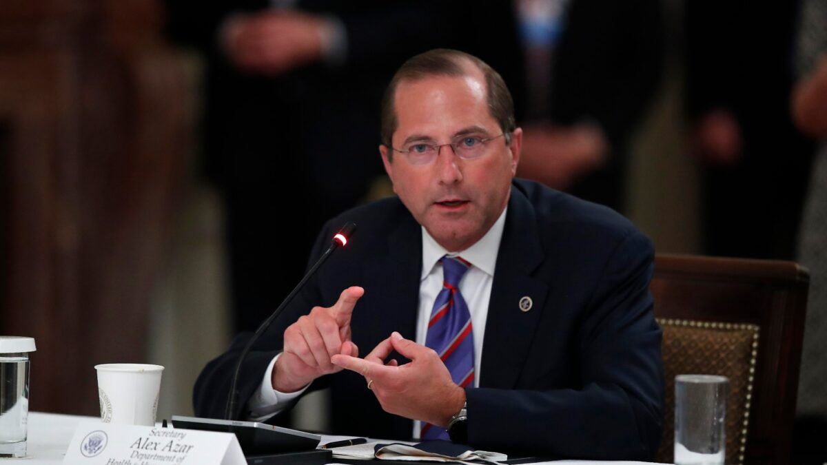 Alex Azar speaks during an event