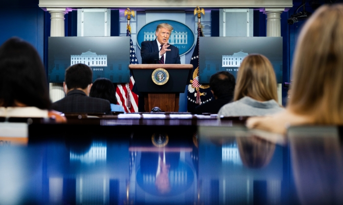 President Donald Trump speaks during the renewed briefing of the Coronavirus Task Force in the Brady Briefing Room of the White House on July 21, 2020, in Washington. (Jim Watson/AFP via Getty Images)