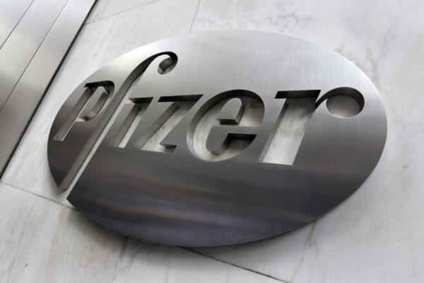 A Pfizer company logo is seen