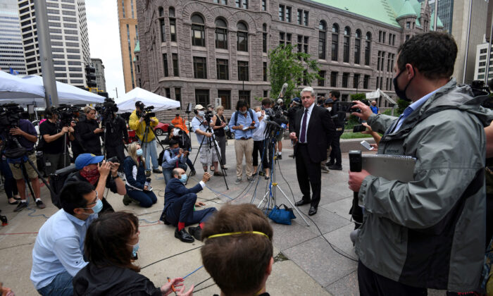 Robert Paule, Tou Thao's lawyer, addresses the media after an omnibus court hearing in the case against Derek Chauvin, the former Minneapolis police officer charged with murdering George Floyd in Minneapolis, Minnesota, on June 29, 2020. (Nicholas Pfosi/File Photo/Reuters)