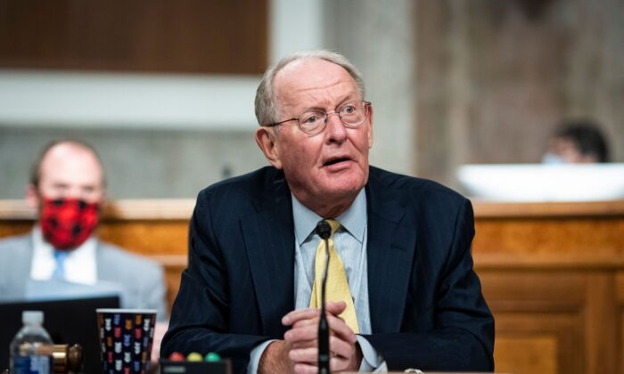 Senator Lamar Alexander, a Republican from Tennessee and chairman of the Senate Health Education Labor and Pensions Committee, listens during a hearing in Washington, DC,  on  June 30, 2020. (Al Drago/AFP via Getty Images)