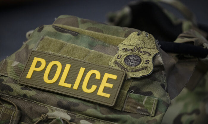 A protective vest with identifying markings worn by Border Patrol is seen during a press conference on the actions taken by Border Patrol and Homeland Security agents in Portland during continued protests at the US Customs and Border Patrol headquarters in Washington, on July 21, 2020. (Samuel Corum/Getty Images)