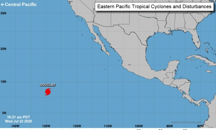 Hurricane Douglas in eastern Pacific on July 22, 2020. (National Hurricane Center)