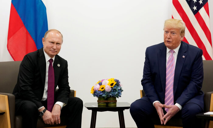 FILE PHOTO: U.S. President Donald Trump meets with Russian President Vladimir Putin at the G20 leaders summit in Osaka, Japan June 28, 2019.  (Kevin Lamarque/File PhotoLamarque/File Photo/Reuters)